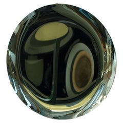 Italian Green Concave Hand-Crafted Murano Glass Rounded Mirror, Italy, 2020