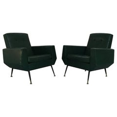 Italian Green Faux Leather, Brass and Metal Rod Armchairs, 1950s