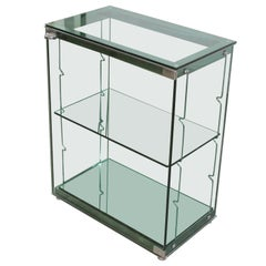 Italian Green Glass Display Cabinet in the Style of Fontana Arte, 1970s