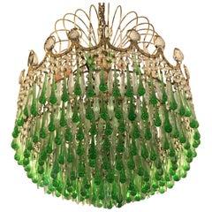 Italian Green Glass Drops Chandelier Venini Style, Murano, 1970s