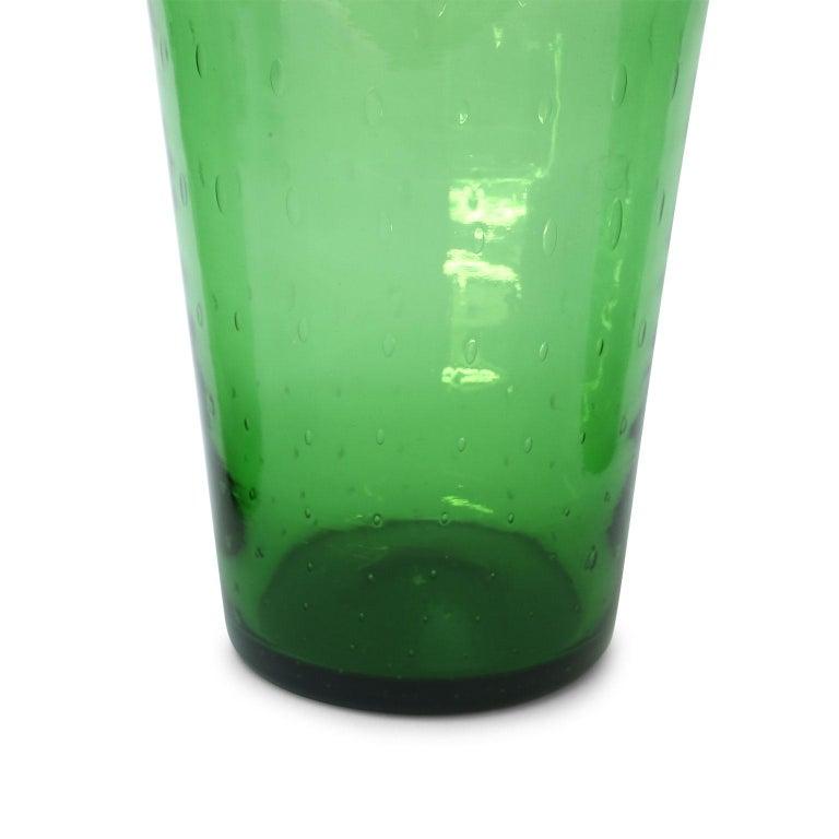 Mid-Century Modern Italian Green Glass Vase by Empoli For Sale