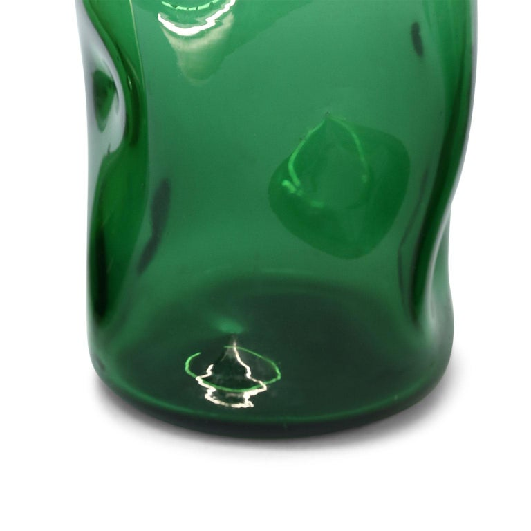 Italian Green Glass Vase by Empoli In Excellent Condition For Sale In Houston, TX