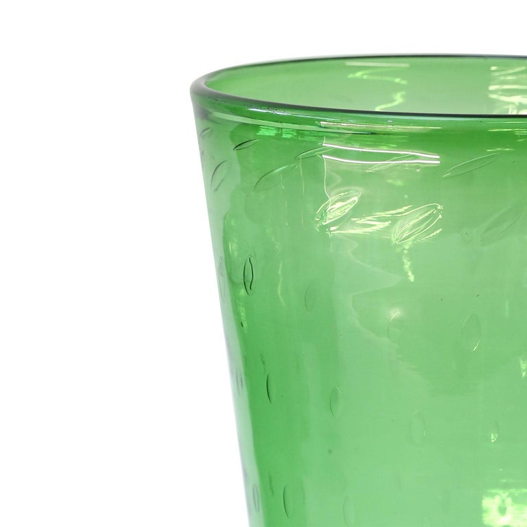 Italian Green Glass Vase by Empoli In Good Condition For Sale In Houston, TX