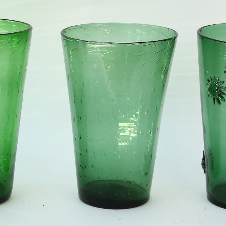 Mid-20th Century Italian Green Glass Vase by Empoli For Sale