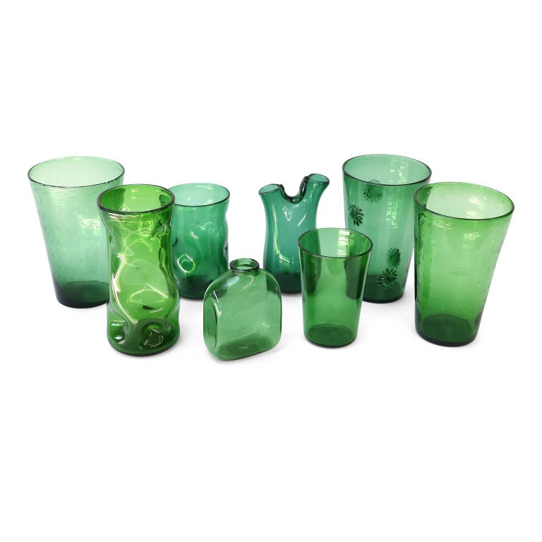 Blown Glass Italian Green Glass Vase by Empoli For Sale