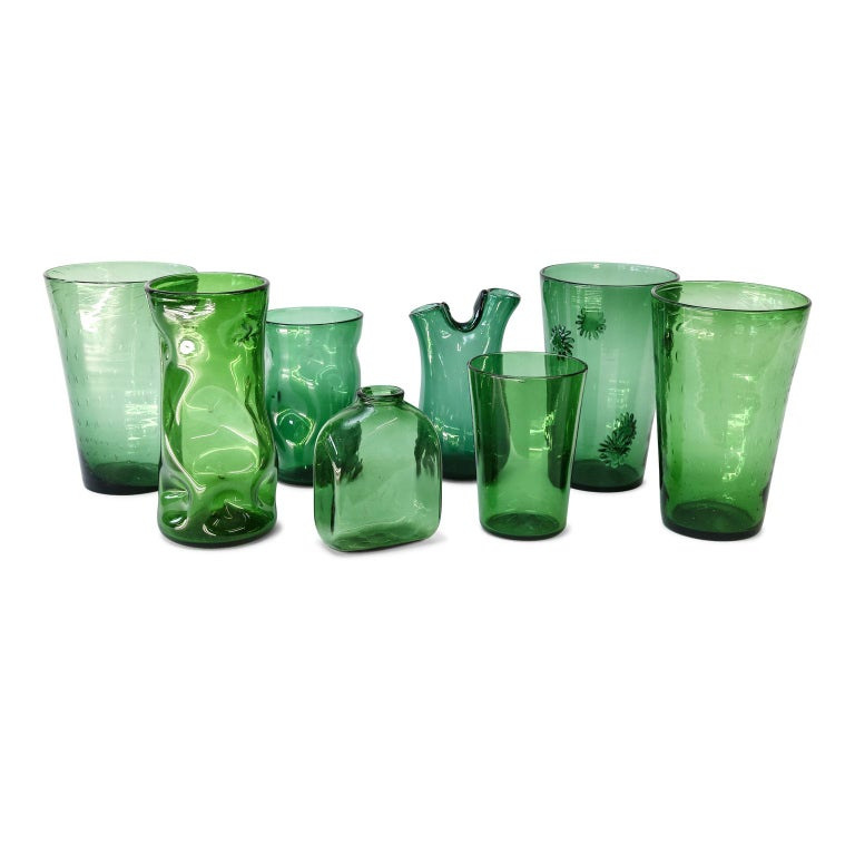 Italian Green Glass Vase by Empoli For Sale 1