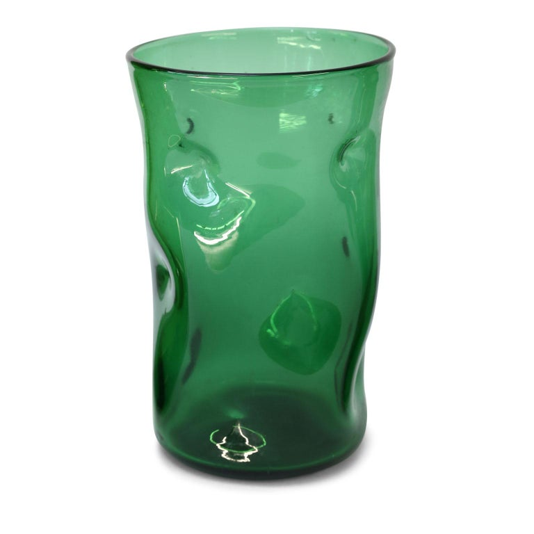 Italian Green Glass Vase by Empoli For Sale 2