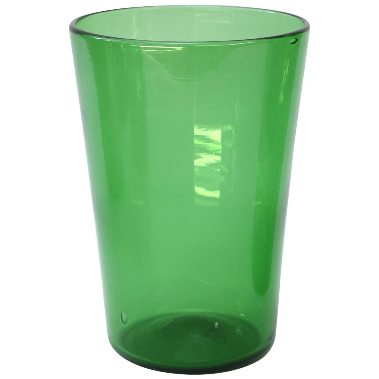 Italian Green Glass Vase by Empoli