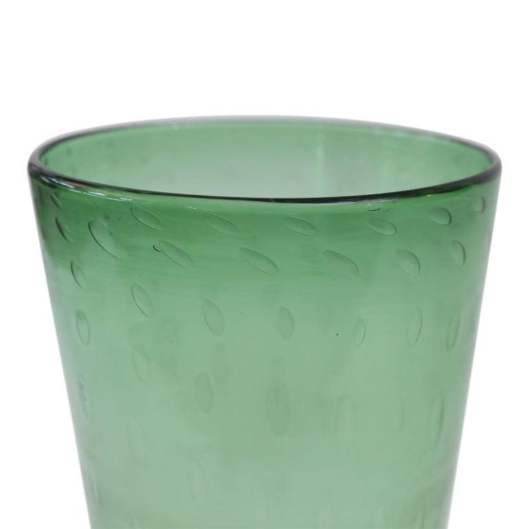 Italian green glass vase by Empoli, circa 1960.