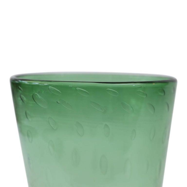 Mid-Century Modern Italian Green Glass Vase For Sale