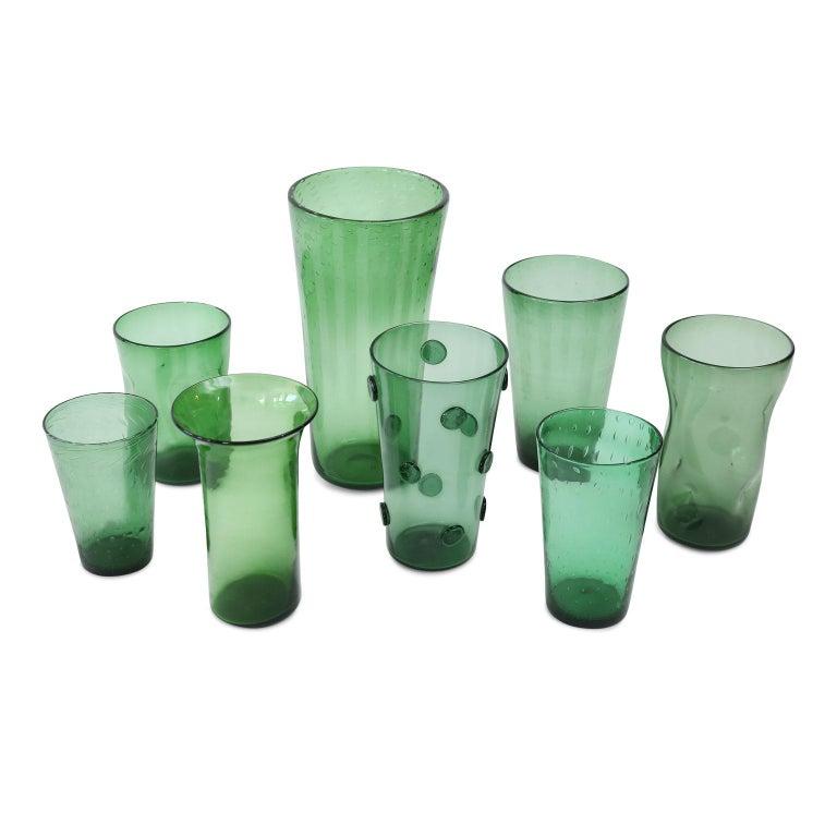 Mid-20th Century Italian Green Glass Vase For Sale