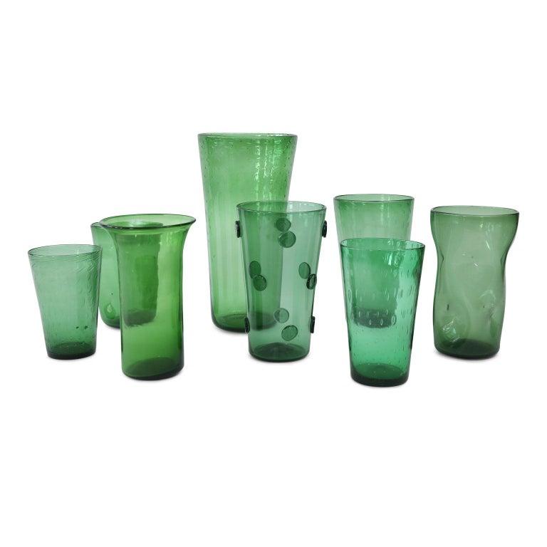 Blown Glass Italian Green Glass Vase For Sale