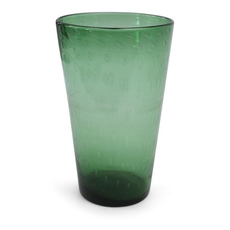 Italian Green Glass Vase For Sale 1