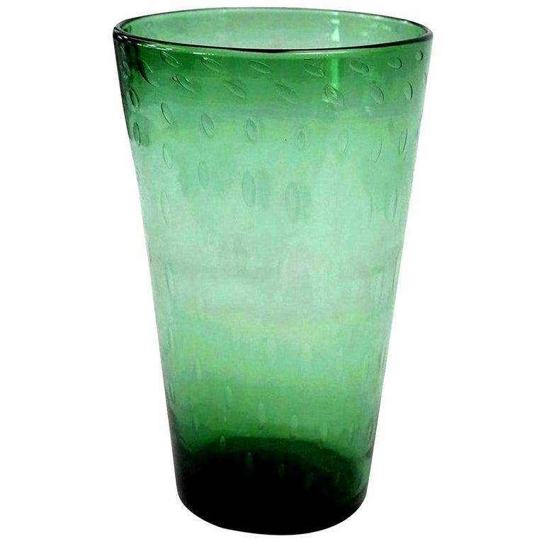 Italian Green Glass Vase For Sale 2