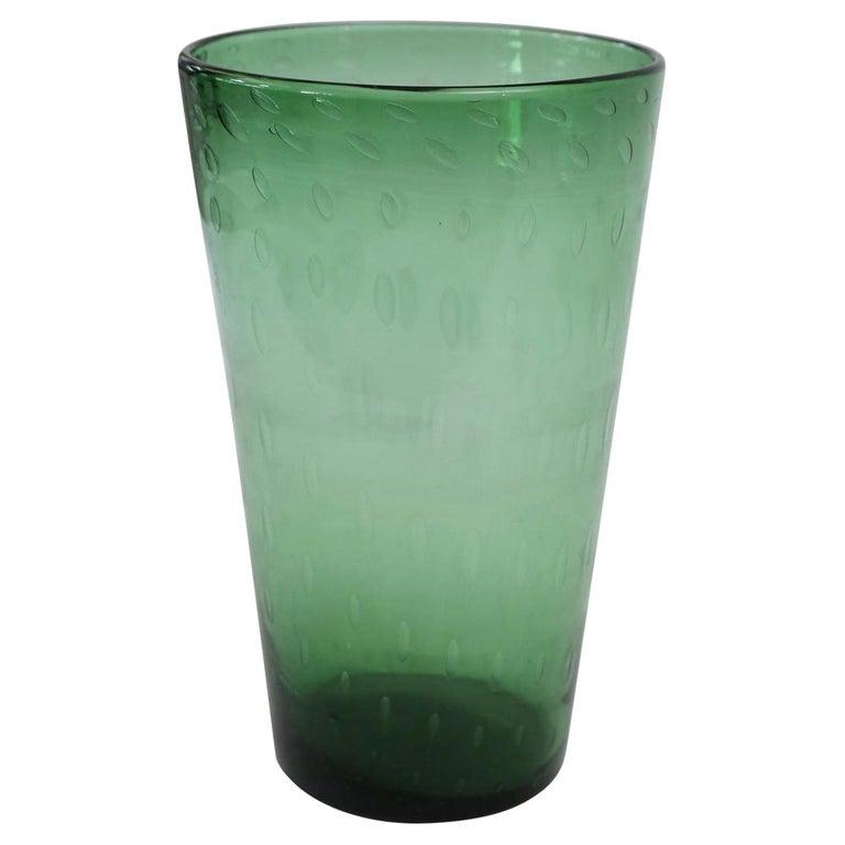 Italian Green Glass Vase For Sale