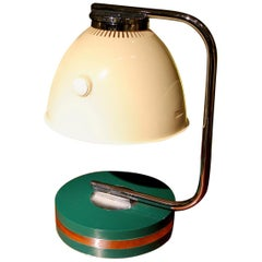 Italian Green Iron and Chrome Round Base Swivel Arm One Light Table Lamp, 1960s
