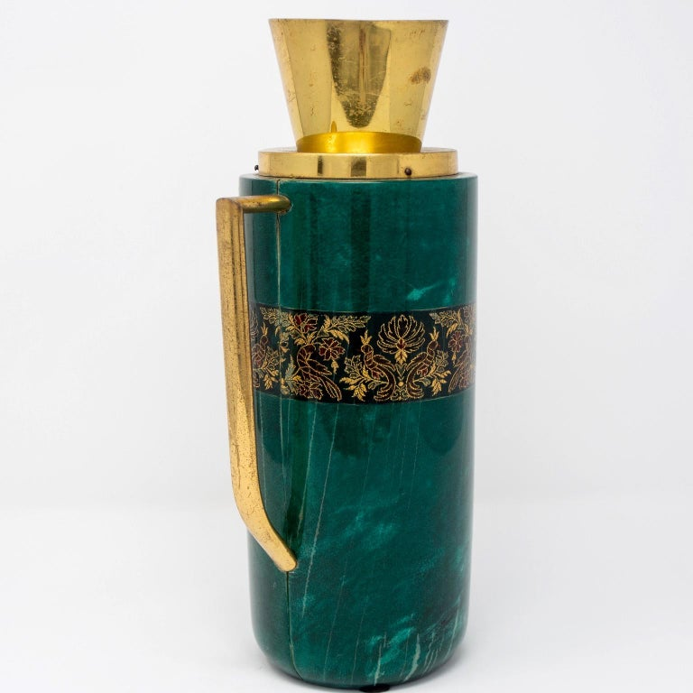 Italian Green Leather and Brass Decanter by Aldo Tura for Macabo In Good Condition For Sale In Troy, MI