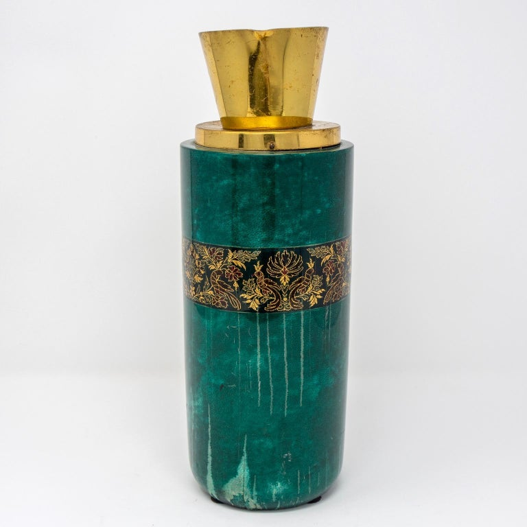 20th Century Italian Green Leather and Brass Decanter by Aldo Tura for Macabo For Sale