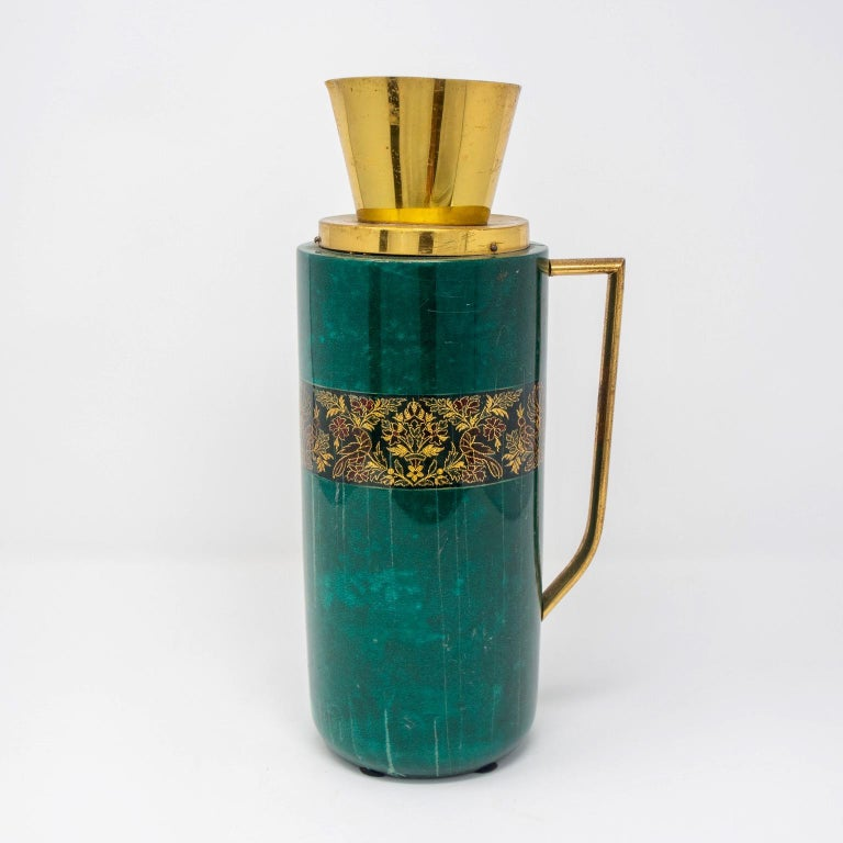 Metal Italian Green Leather and Brass Decanter by Aldo Tura for Macabo For Sale