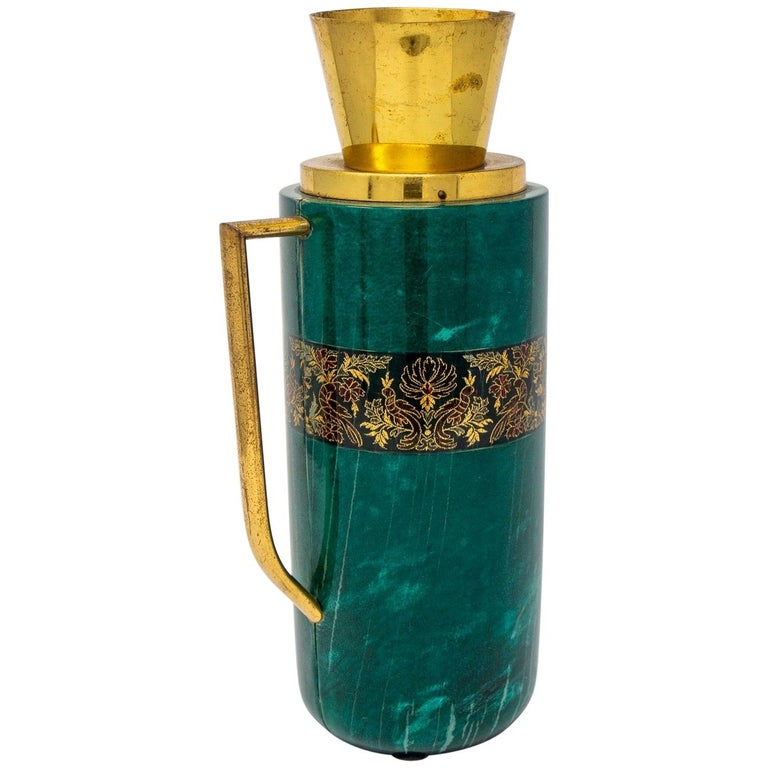 Italian Green Leather and Brass Decanter by Aldo Tura for Macabo For Sale