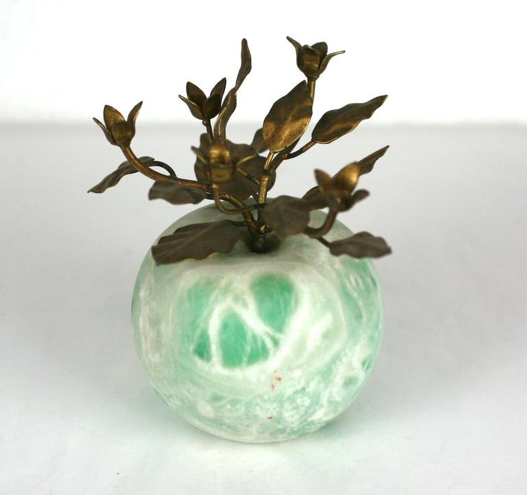 Italian Green Marble Apple desk ornament with gold metal foliage. Nice green and white mottled marble with nicely detailed metalwork. 1960's Italy.  Apple 2.5