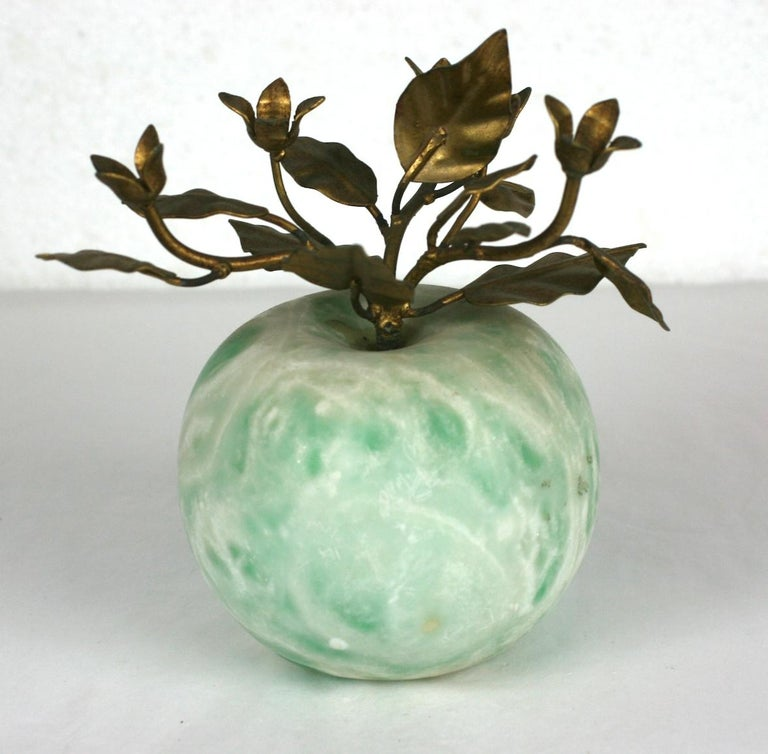 Italian Green Marble Apple with Gilt Foliage In Excellent Condition For Sale In Riverdale, NY