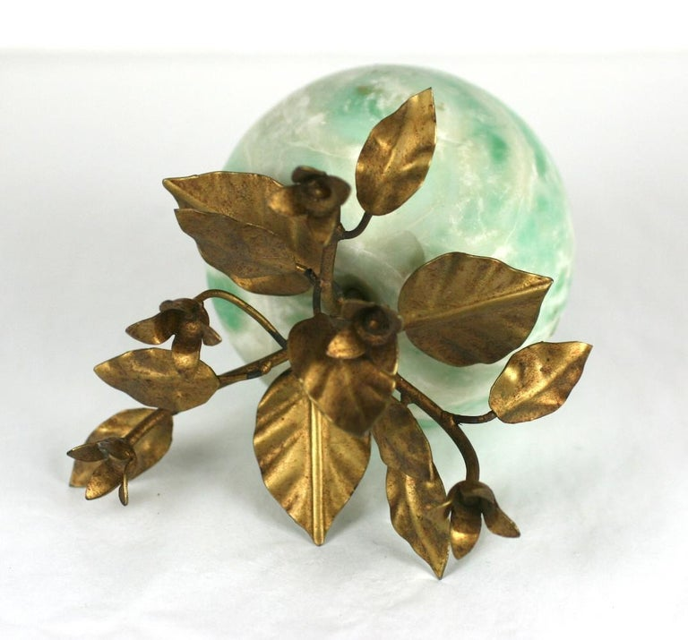 Women's or Men's Italian Green Marble Apple with Gilt Foliage For Sale