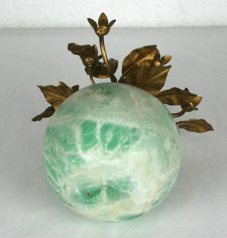 Italian Green Marble Apple with Gilt Foliage For Sale 1