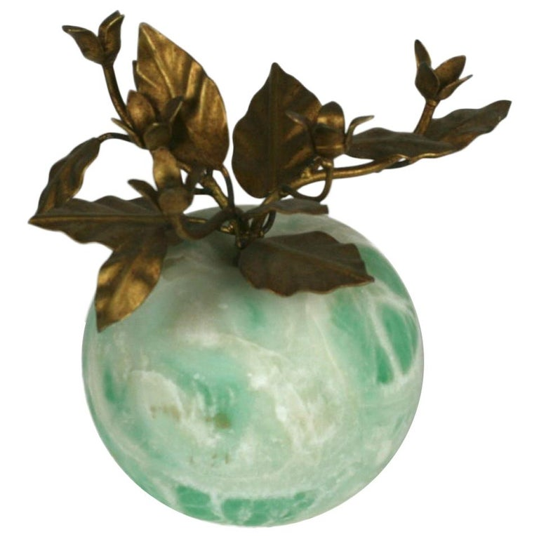 Italian Green Marble Apple with Gilt Foliage For Sale