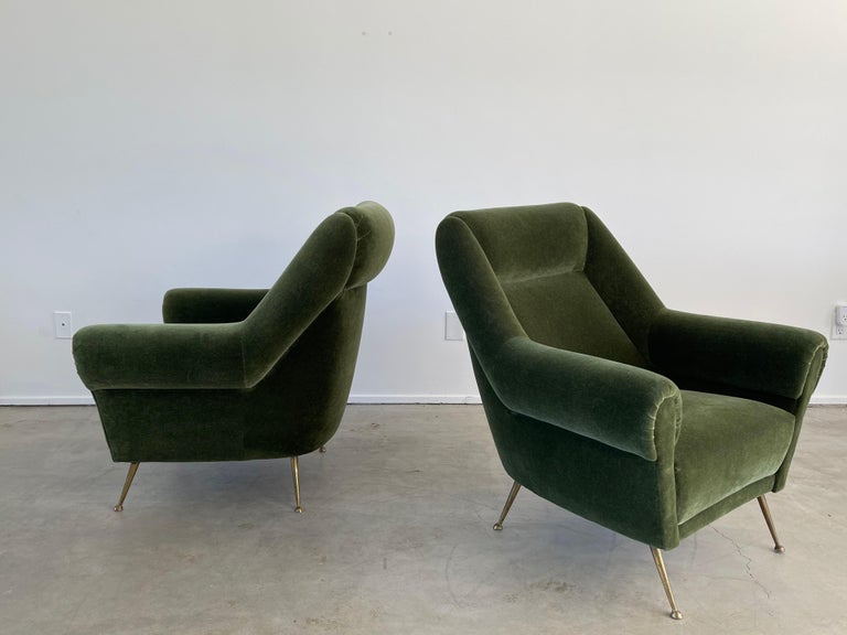Italian Green Mohair Lounge Chairs In Good Condition In Los Angeles, CA