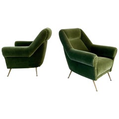 Italian Green Mohair Lounge Chairs