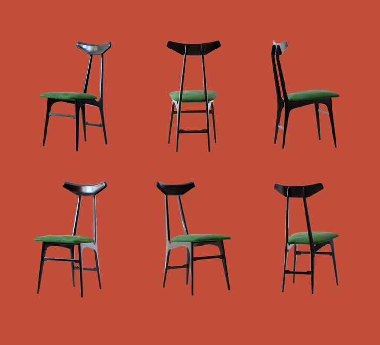 Italian Green Suede Leather Dining Chairs, 1950s For Sale 7