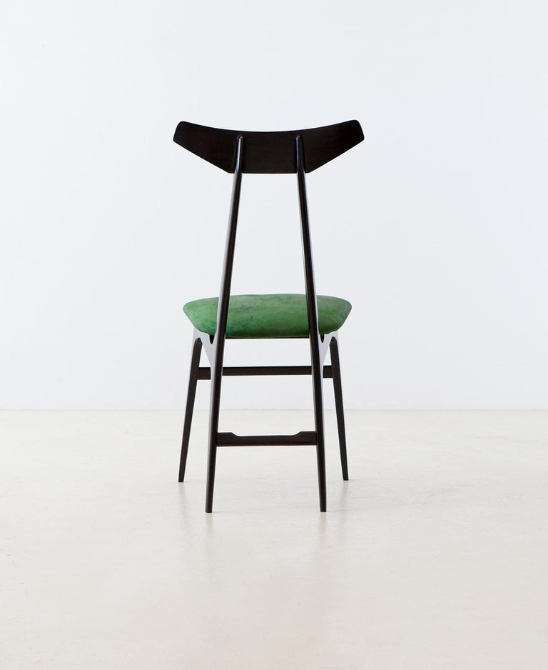 Mid-Century Modern Italian Green Suede Leather Dining Chairs, 1950s For Sale
