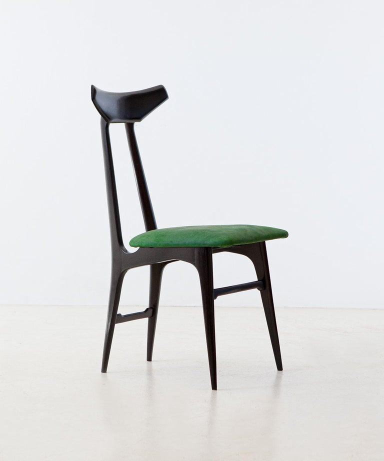 Mid-20th Century Italian Green Suede Leather Dining Chairs, 1950s For Sale