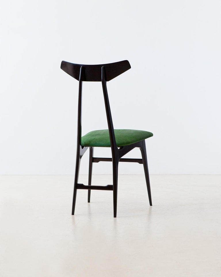 Velvet Italian Green Suede Leather Dining Chairs, 1950s For Sale