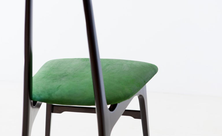 Italian Green Suede Leather Dining Chairs, 1950s For Sale 1