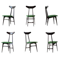 Six Italian Green Suede Leather Dining Chairs, 1950s