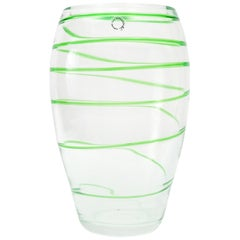 Italian Green Swirl Stripe Murano Glass Vase by V. Nason & Co.