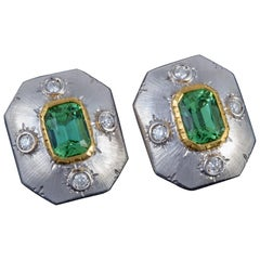 Italian Green Tourmaline and Diamond Florentine Earrings