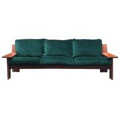Italian Green Velvet and Wood Three-Seat Sofa Plinio by Plinio Il Giovane, 1975