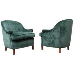 Italian Green Velvet Armchair, 1950s