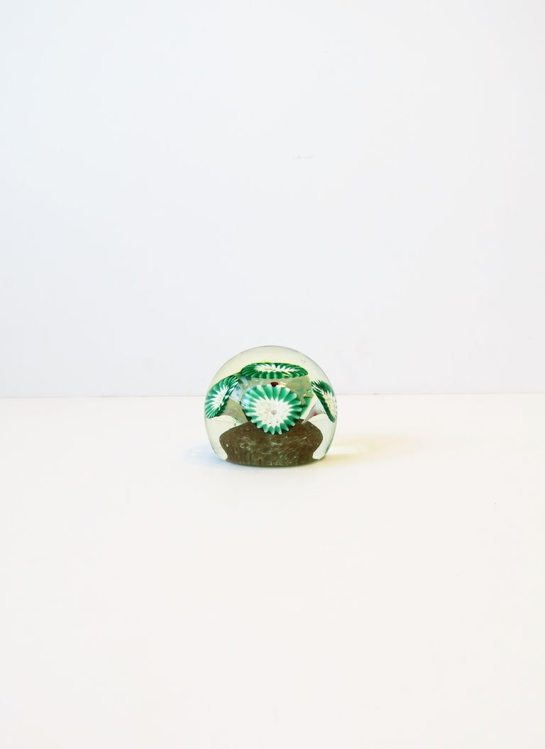 Modern Italian Green White and Clear Art Glass Decorative Object or Paperweight For Sale