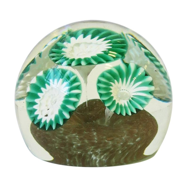 Italian Green White and Clear Art Glass Decorative Object or Paperweight