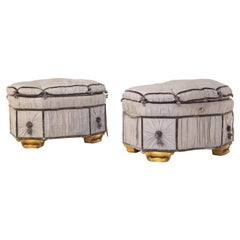 Italian Grey Pouf Containers in Gilded Wood and Silk, Early 20th Century