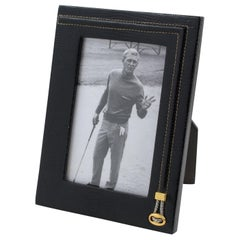 Italian Gucci Hand-Stitched Black Leather Picture Frame