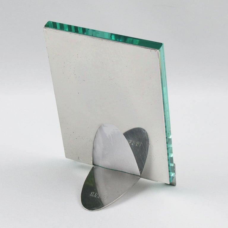 Italian Gucci Silver Plate Picture Photo Frame Belt Design In Good Condition For Sale In Atlanta, GA