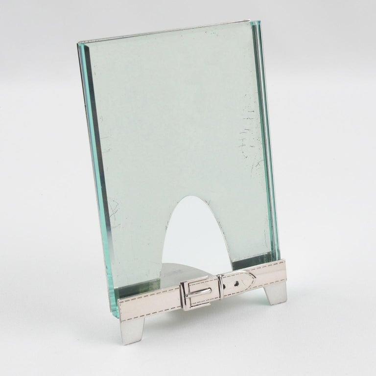 Italian Gucci Silver Plate Picture Photo Frame Belt Design For Sale 1