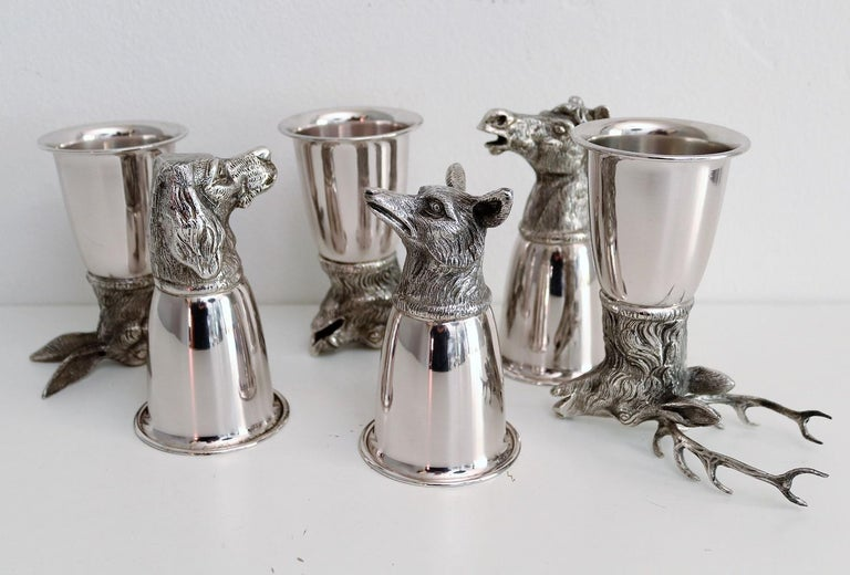 Italian Gucci Silver Plated Drinking Cups in Different Animal Shapes Signed For Sale 8