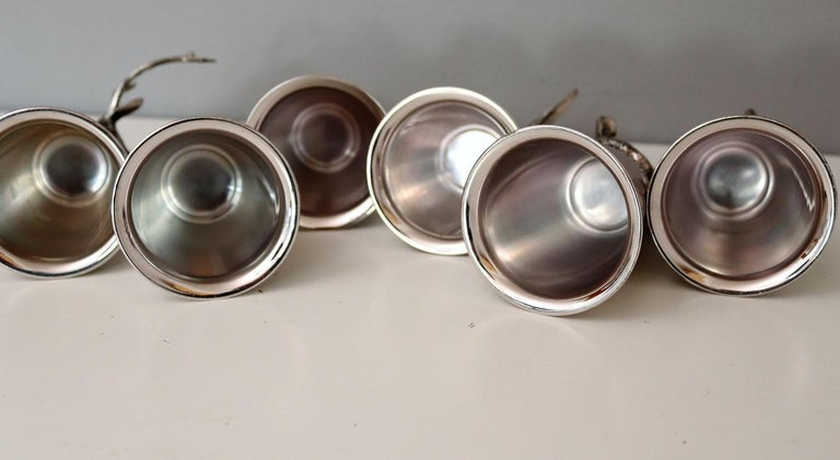 Italian Gucci Silver Plated Drinking Cups in Different Animal Shapes Signed For Sale 9