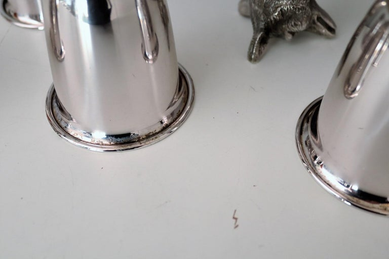 Italian Gucci Silver Plated Drinking Cups in Different Animal Shapes Signed For Sale 10